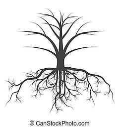 vettore, concetto, albero, radici, fondo