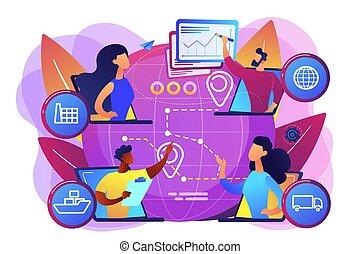 vettore, concetto, catena, fornitura, illustrazione, amministrazione