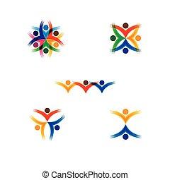 vettore, concetto, colorito, scuola, persone, -, set, icone, cerchio, bambini