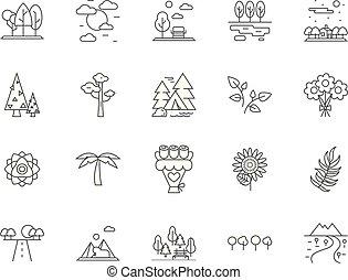 vettore, concetto, contorno, set, icone, illustrazione, flora, fauna, segni, linea