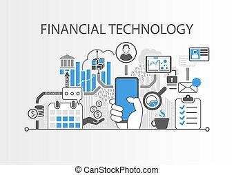 vettore, concetto, finanziario, fondo, fin-tech, /, mano, smartphone, presa a terra, tecnologia