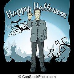 vettore, concetto, halloween