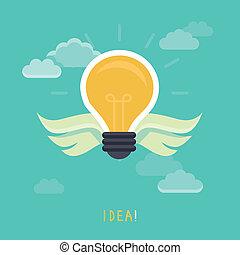 vettore, concetto, idea, creativo