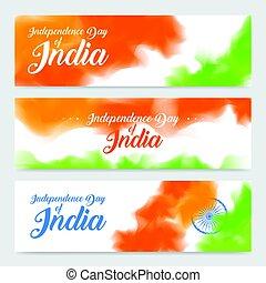 vettore, concetto, illustration., colorito, wheel., india., illustrazione, giorno, testata, set, fondo, bandiera, ashoka, indipendenza, indiano