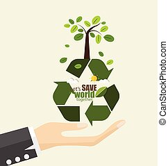 vettore, concetto, illustration., eco, simbolo, friendly., albero., ecologia, riciclare
