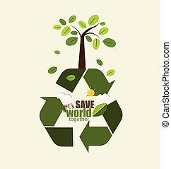 vettore, concetto, illustration., eco, simbolo, friendly., albero., ecologia, riciclare