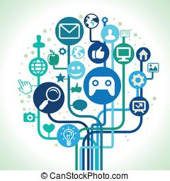 vettore, concetto, internet
