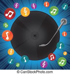 vettore, concetto, musica