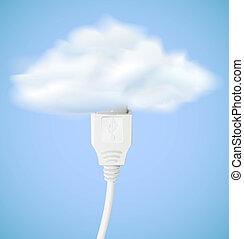 vettore, concetto, nuvola, calcolare