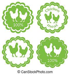 vettore, concetto, organico, carne, fattoria, etichetta, ecologia, fondo, animali, pollo, mercato