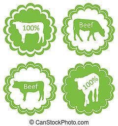 vettore, concetto, organico, carne, manzo, fattoria, etichetta, ecologia, fondo, animali, mercato