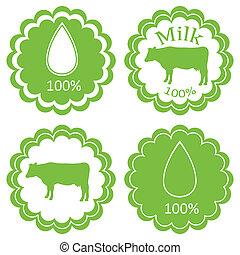 vettore, concetto, organico, fattoria, etichetta, ecologia, fondo, animali, latte, mercato