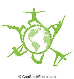 vettore, concetto, palestra, silhouette, ecologia, ginnastica, idoneità, mondo, rotondo, donne