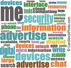 vettore, concetto, parola, media, etichetta, fondo, sociale, nube bianca