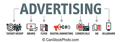 vettore, concetto, pubblicità, illustrazione, icone