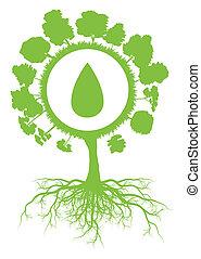 vettore, concetto, simbolo, goccia, albero, acqua, ambientale, ecologia, sfondo verde, radici