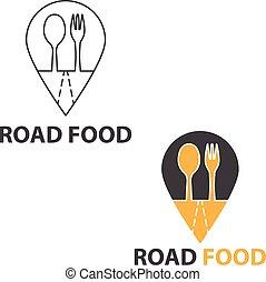 vettore, concetto, strada, illustrazione, cibo.
