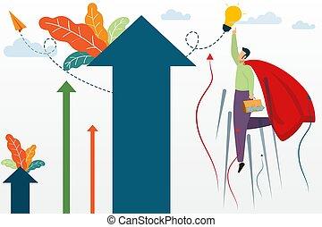 vettore, concetto, superhero, illustration., affari, volare, esposizione, vincitore, cielo, successo, digiuno, gesti, arrow., successful., uomo affari, crescente, capo, sì, condottiero, rosso, uomo