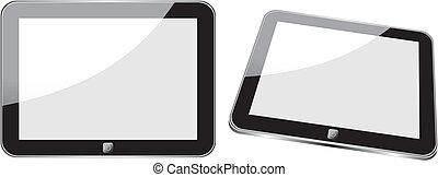 vettore, concetto, tavoletta, ps, ipad., no, trasparenza, effects., eps8, soltanto