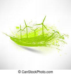 vettore, concetto, turbine, vento