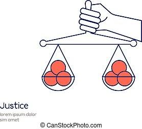 vettore, concetto, uguaglianza, illustration., giustizia, mano, scala, presa a terra, linea, icon.