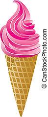 vettore, cono, gelato