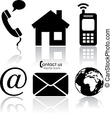 vettore, contatto, icone