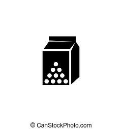 vettore, contenitore, latte, icona