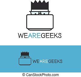 vettore, contorno, logotype., moderno, geek, computer, logo., nerd