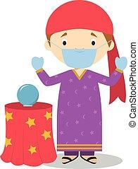 vettore, contro, illustrazione, fortuna, guanti, chirurgico...