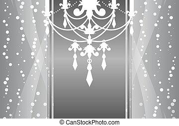 vettore, cornice, candeliere, argento