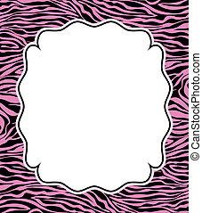 vettore, cornice, con, astratto, pelle zebra, struttura