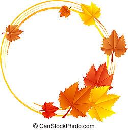 vettore, cornice, con, foglie