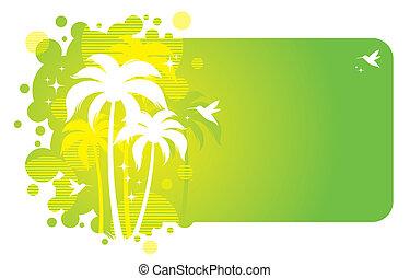vettore, cornice, con, tropicale, disegno