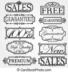 vettore, cornice, set, ornamentale, vendemmia