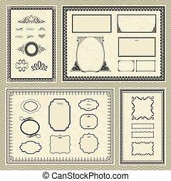 vettore, cornice, set, ornamento, ornare