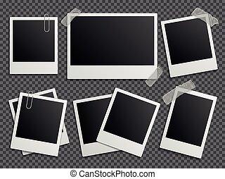 vettore, cornici, famiglia, polaroid, album, foto, retro, set