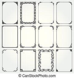 vettore, cornici, frontiere decorative, rettangolo, set
