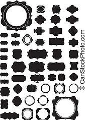 vettore, cornici, set, silhouette, 50