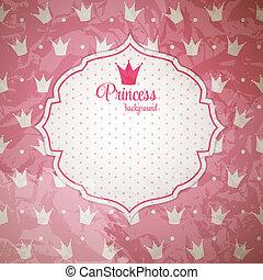 vettore, corona, principessa, fondo, illustration.