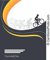 vettore, corsa, disegno, bicicletta, manifesto, evento