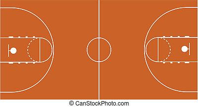 vettore, corte pallacanestro, illustrazione