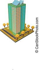 vettore, costruzione., casa, residenziale, bianco, isometrico, style., multi-piano, illustrazione, fondo.