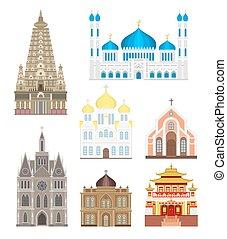 vettore, costruzioni, set, cattedrali, asia, infographic, architettura, punto di riferimento, chiese, turismo, tempio
