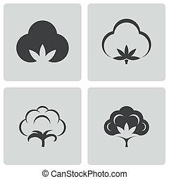 vettore, cotone, set, nero, icone