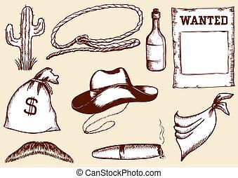 vettore, cowboy, elementi, per, disegno
