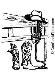 vettore, cowboy, elementi
