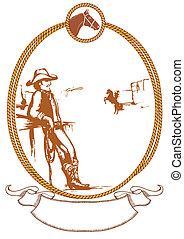 vettore, cowboy, manifesto, fondo, per, disegno, con, corda,...