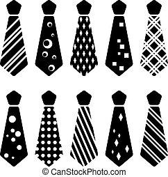 vettore, cravatta, nero, silhouette