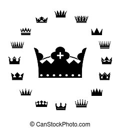vettore, crowns., set, nero, icone